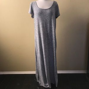 781b029d380 torrid Dresses - Torrid Side Slit Maxi Gray Marled Sweater Dress 1